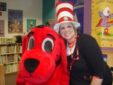 School Librarian with Clifford the Big Red Dog